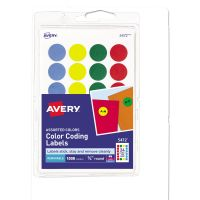 "Avery Printable Removable Color-Coding Labels, 3/4"" dia, Assorted, 1008/Pack AVE05472"