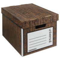 Universal Heavy-Duty Storage Box, Letter/Legal, Fiberboard, Woodgrain, 12/Carton UNV65521