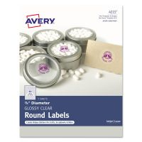 "Avery Printable Self-Adhesive Permanent 3/4"" Round ID Labels, 3/4""dia., Clear, 400/Pk AVE4222"