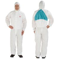 3M Disposable Protective Coveralls, White, Medium, 6/Pack MMM4520BLKM