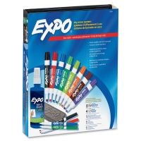 EXPO Low-Odor Dry Erase Marker, Eraser & Cleaner, Chisel/Fine, 12/Set SAN80054