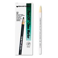Sharpie Peel-Off China Markers, White, Dozen SAN2060