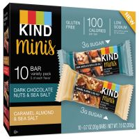KIND Minis, Almond and Sea Salt, Dark Chocolate Nuts, Sea Salt Caramel, 0.7 oz, 10/PK KND25726