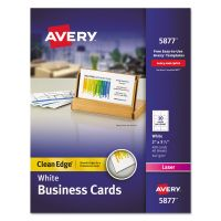 Avery Clean Edge Business Cards, Laser, 2 x 3 1/2, White, 400/Box AVE5877