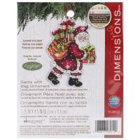 Dimensions Susan Winget Santa W/Bag Ornament Counted Cross Stitch Kit NOTM063764