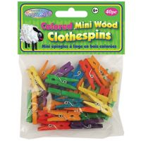 Krafty Kids Colored Mini Wood Clothespins NOTM131144