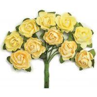 """Mini Paper Blooms .5"""" Flowers W/Wire Stems 10/Pkg NOTM272302"""