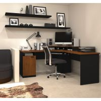 Bestar Hampton corner workstation in Tuscany Brown & Black  BESBES694304163