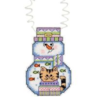 Janlynn Holiday Wizzers Snowman With Cat Counted Cross Stitch Kit NOTM444731