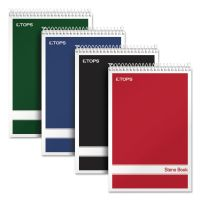 TOPS Steno Book w/Assorted Colored Covers, 6 x 9, White, 80 Sheets, 4 Pads/Pack TOP80220