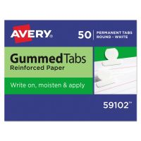 Avery Gummed Index Tabs, 1/2 in, White, 50/Pack AVE59102