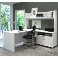 Bestar Pro-Linea L-Desk with Open hutch in White BESBES12088617