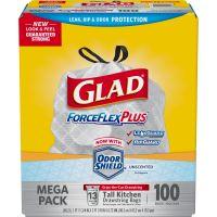 Glad ForceFlex Tall Kitchen Drawstring Bags, 13 gal, .82mil, 24 x 24 7/8 White 100/BX CLO70427