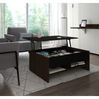 Bestar Small Space 37-inch Lift-Top Storage Coffee Table in Dark Chocolate and Black BESBES161601179