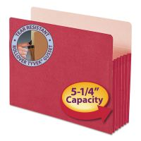 "Smead 5 1/4"" Exp Colored File Pocket, Straight Tab, Letter, Red SMD73241"
