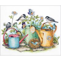 Dimensions Watering Cans Stamped Cross Stitch Kit NOTM461847