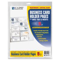 C-Line Tabbed Business Card Binder Pages, 20 Cards Per Letter Page, Clear, 5 Pages CLI61117