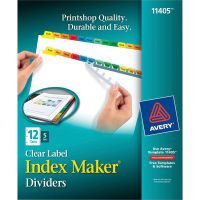 Avery Print & Apply Clear Label Dividers, 12-Tab, Multi-color Tab, Letter, 5 Sets AVE11405