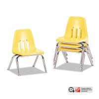 """Virco 9000 Series Classroom Chairs, 10"""" Seat Height, Squash/Chrome, 4/Carton VIR901047"""