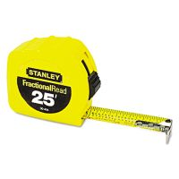 """Stanley Tools Tape Rule, 1"""" x 25ft, Steel Blade, Plastic Case, Yellow BOS30454"""