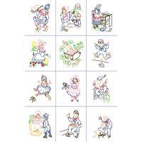 """Stamped Baby Quilt Blocks 9""""X9"""" 12/Pkg NOTM319610"""