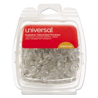 """Universal Clear Push Pins, Plastic, 3/8"""", 100/Pack UNV31304"""