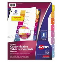 Avery Ready Index Customizable Table of Contents, Asst Dividers, 8-Tab, Ltr, 6 Sets AVE11186