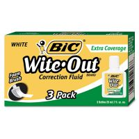 BIC Wite-Out Extra Coverage Correction Fluid, 20 ml Bottle, White, 3/Pack BICWOFEC324