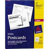 Avery Postcards for Laser Printers, 4 1/4 x 5 1/2, Uncoated White, 4/Sheet, 200/Box AVE5689