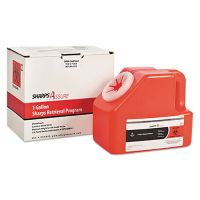 TrustMedical Sharps Retrieval Program Containers, 1 gal, Cardboard/Plastic, Red TMDSC1G424A1G