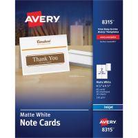 Avery Note Cards for Inkjet Printers, 4 1/4 x 5 1/2, Matte White, 60/Pack w/Envelopes AVE8315