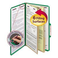 Smead Pressboard Classification Folders, Legal, Six-Section, Green, 10/Box SMD19033