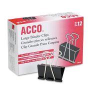 "ACCO Large Binder Clips, Steel Wire, 1 1/16"" Cap, 2""w, Black/Silver, Dozen ACC72100"