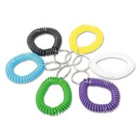 Universal Wrist Coil Plus Key Ring, Plastic, Assorted Colors, 6/Pack UNV56051