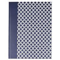 Universal Casebound Hardcover Notebook, 10 1/4 x 7 5/8, Dark Blue with Hexagon Pattern UNV66351