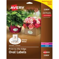 Avery Oval True Print Easy Peel Labels, 1 1/2 x 2 1/2, Glossy White, 180/Pack AVE22804