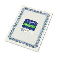 Geographics Parchment Paper Certificates, 8-1/2 x 11, Blue Royalty Border, 50/Pack GEO22901