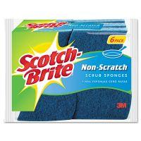 Scotch-Brite Non-Scratch Multi-Purpose Scrub Sponge, 4 2/5 x 2 3/5, Blue, 6/Pack MMM526