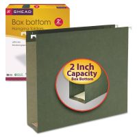 """Smead 2"""" Capacity Box Bottom Hanging File Folders, Letter, Green, 25/Box SMD64259"""