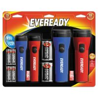 Eveready LED Economy Flashlight, AA/D, Black/Blue/Red EVEEVM5511S