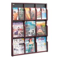 Safco Expose Adj Magazine/Pamphlet Nine Pocket Display, 29-3/4w x 38-1/4h, Mahogany SAF5702MH