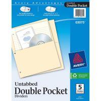Avery Untabbed Double-Pocket Binder Pockets AVE03075