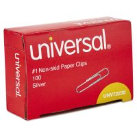 Universal Nonskid Paper Clips, Wire, No. 1, Silver, 1000/Pack UNV72230