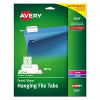 Avery Print/Write-On Hanging Tabs, 1/5 Tab, 2 1/16, White, 90/Pack AVE5567