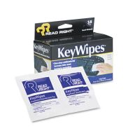 Read Right KeyWipes Keyboard & Hand Cleaner Wet Wipes, 5 x 6 7/8, 18/Box REARR1233
