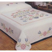 "Stamped Cross Stitch Quilt 90""X103"" NOTM242920"