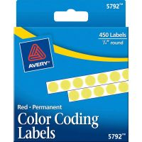 "Avery Permanent Self-Adhesive Round Color-Coding Labels, 1/4"" dia, Yellow, 450/Pack AVE05792"
