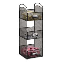 Safco Onyx Breakroom Organizers, 3 Compartments, 6 x 6 x 18, Steel Mesh, Black SAF3290BL