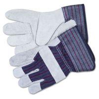 MCR Safety Split Leather Palm Gloves, Large, Gray, Pair CRW12010L