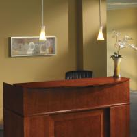 Tiffany Industries Sorrento Reception Desk Screen With Veneer Counter, 72w x 38-1/2d x 15-1/4h MLNSRCSCR